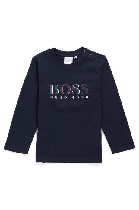 T-shirt à manches longues en coton pour enfant, avec logo en relief, Bleu foncé