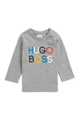 T-shirt enfant à manches longues avec imprimé et logo brodé, Gris chiné