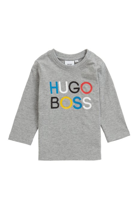 Kids' long-sleeved T-shirt with printed and embroidered logo, Light Grey