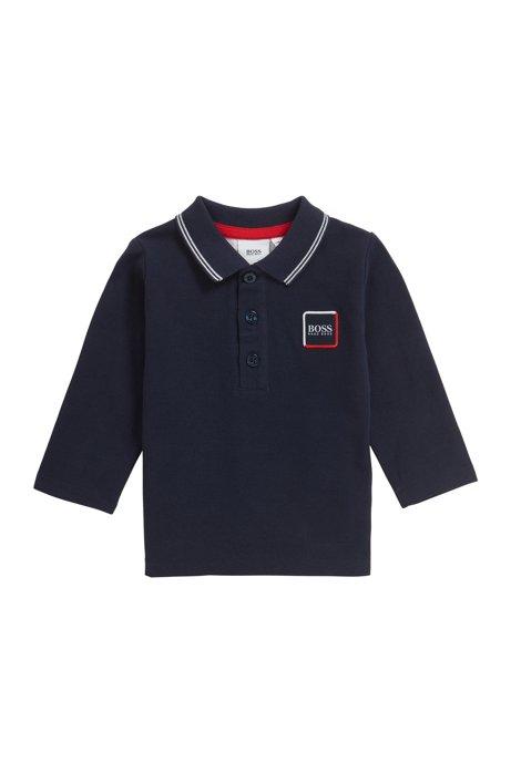 Kids-Longsleeve-Poloshirt mit kontrastfarbenen Streifen, Dunkelblau