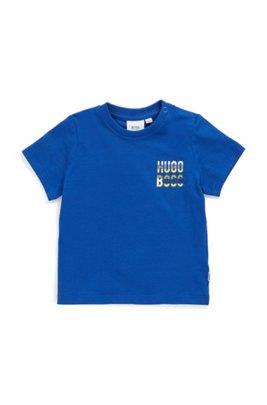 T-shirt en coton pour enfant avec logo et fermeture pressionnée, Bleu