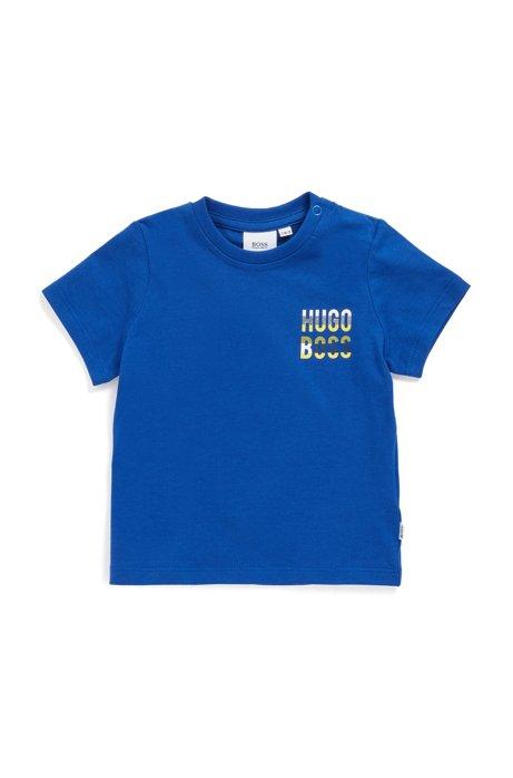 Kids Logo-Shirt aus Baumwolle mit Druckknopf, Blau
