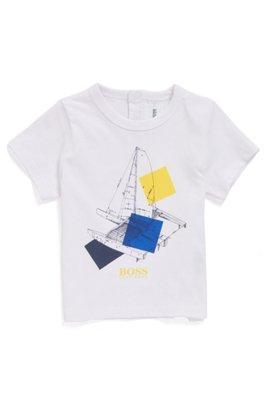 T-shirt en coton mélangé pour enfant avec motif artistique et logo, Blanc