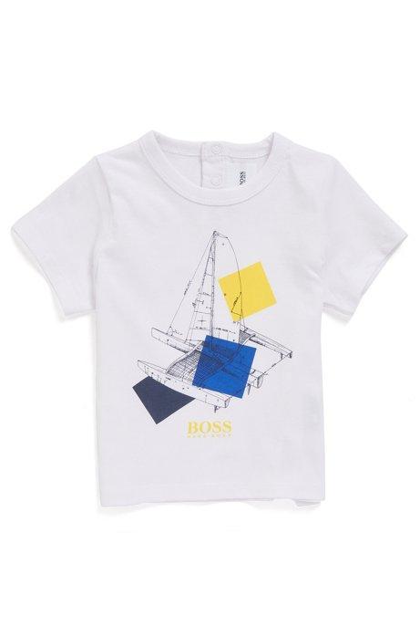 Kinder-T-shirt van katoen met artwork en logo, Wit