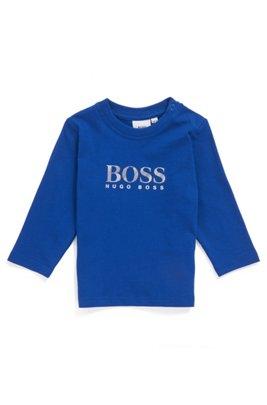 Kinder-T-shirt van katoen met lange mouwen en reliëflogo, Blauw