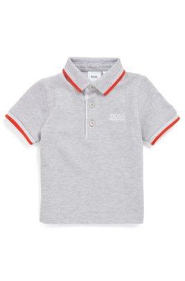 Polo pour enfant en piqué de coton avec logos, Gris chiné