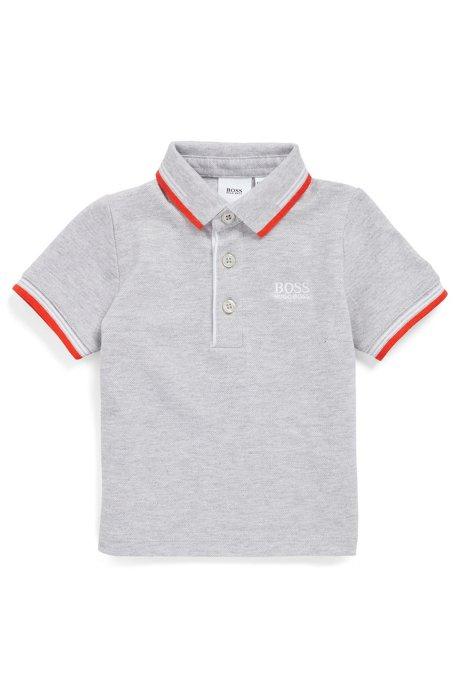 Kids-Poloshirt aus Baumwoll-Piqué mit Logo-Details, Hellgrau