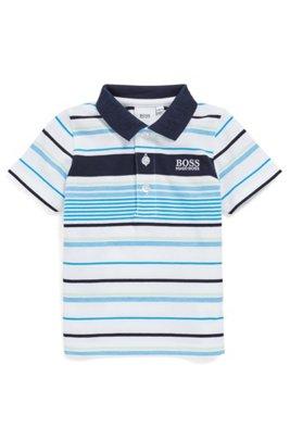Polo en coton à rayures pour enfant avec col logo, Fantaisie