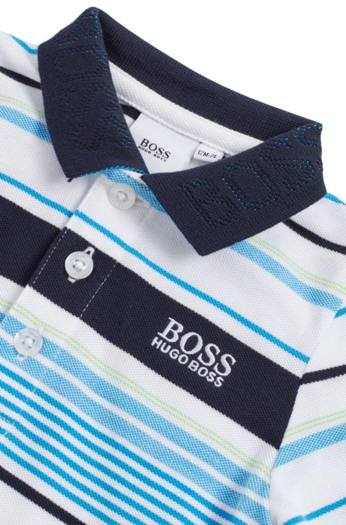 Polo en coton à rayures pour enfant avec col logo