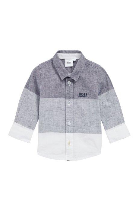 Regular-Fit Kids-Hemd aus Baumwoll-Mix mit Leinen, Grau