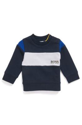 Sweat color block pour enfant avec fermeture pressionnée sur l'épaule, Bleu foncé