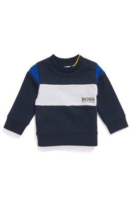 Kindersweater met blokkleuren en schoudersluiting, Donkerblauw