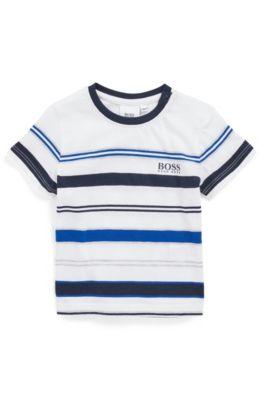 T-shirt en coton mélangé pour enfant avec rayures en maille, Bleu