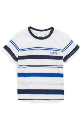 T-shirt en coton mélangé pour enfant avec rayures en maille, Fantaisie