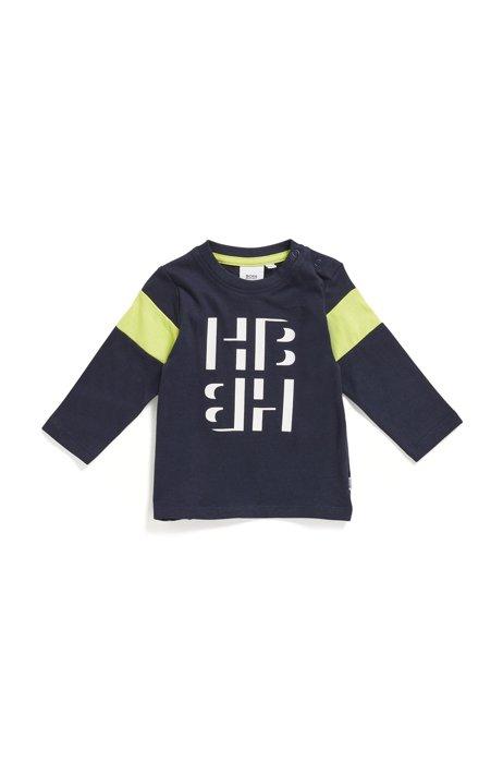 Katoenen T-shirt voor kinderen met lange mouwen en monogramprint, Donkerblauw