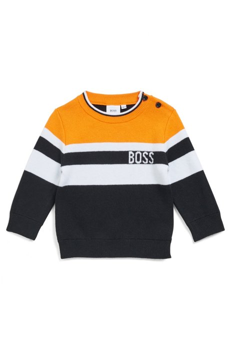 Gestreifter Kids-Pullover aus Baumwolle mit Wolle und Logo, Orange