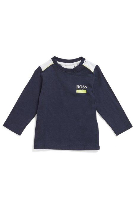 T-shirt pour enfant en coton à manches longues et logo au dos, Bleu foncé