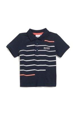 Kids' slim-fit polo shirt in striped cotton, Dark Blue