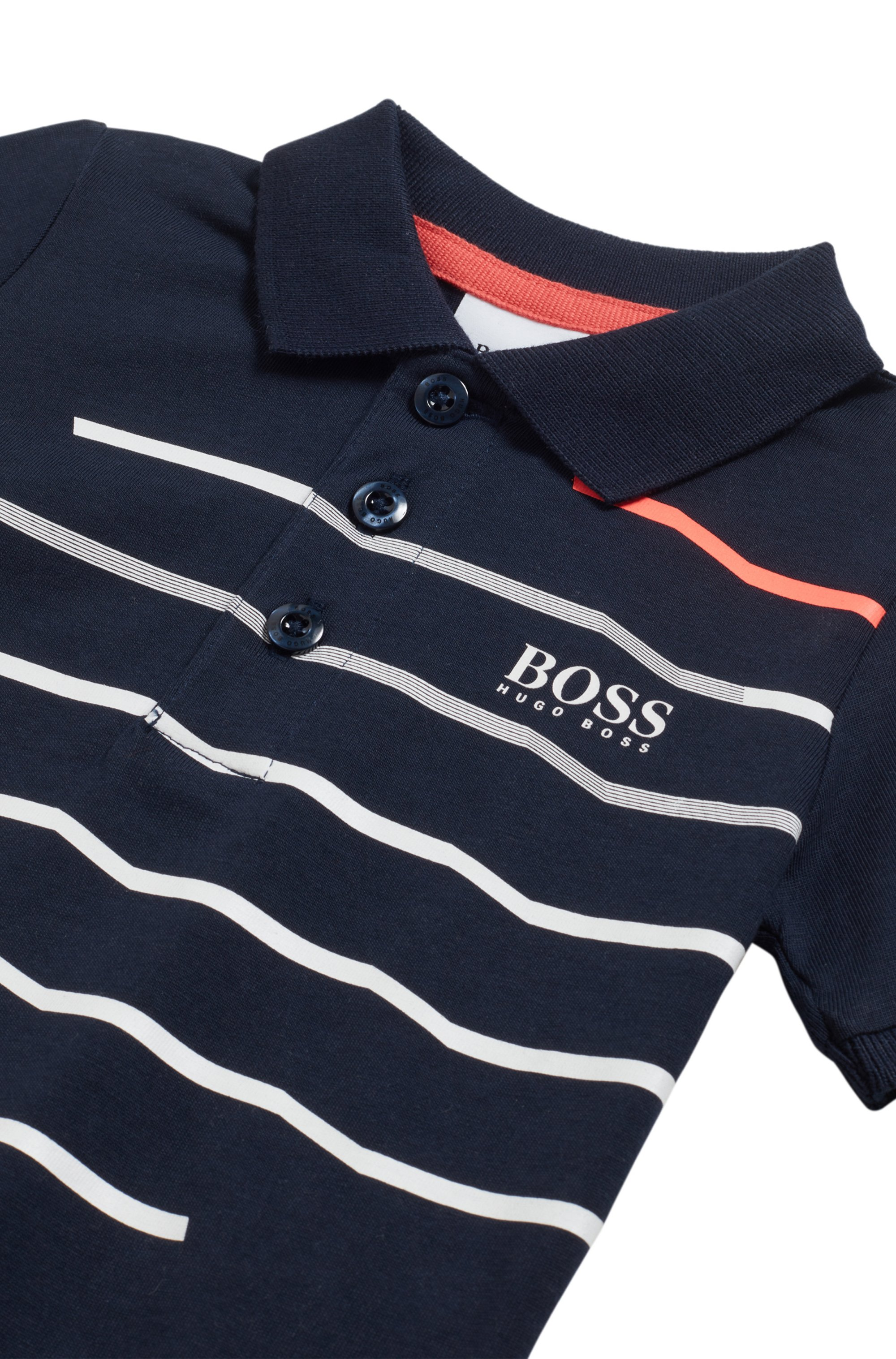 Kids' slim-fit polo shirt in striped cotton