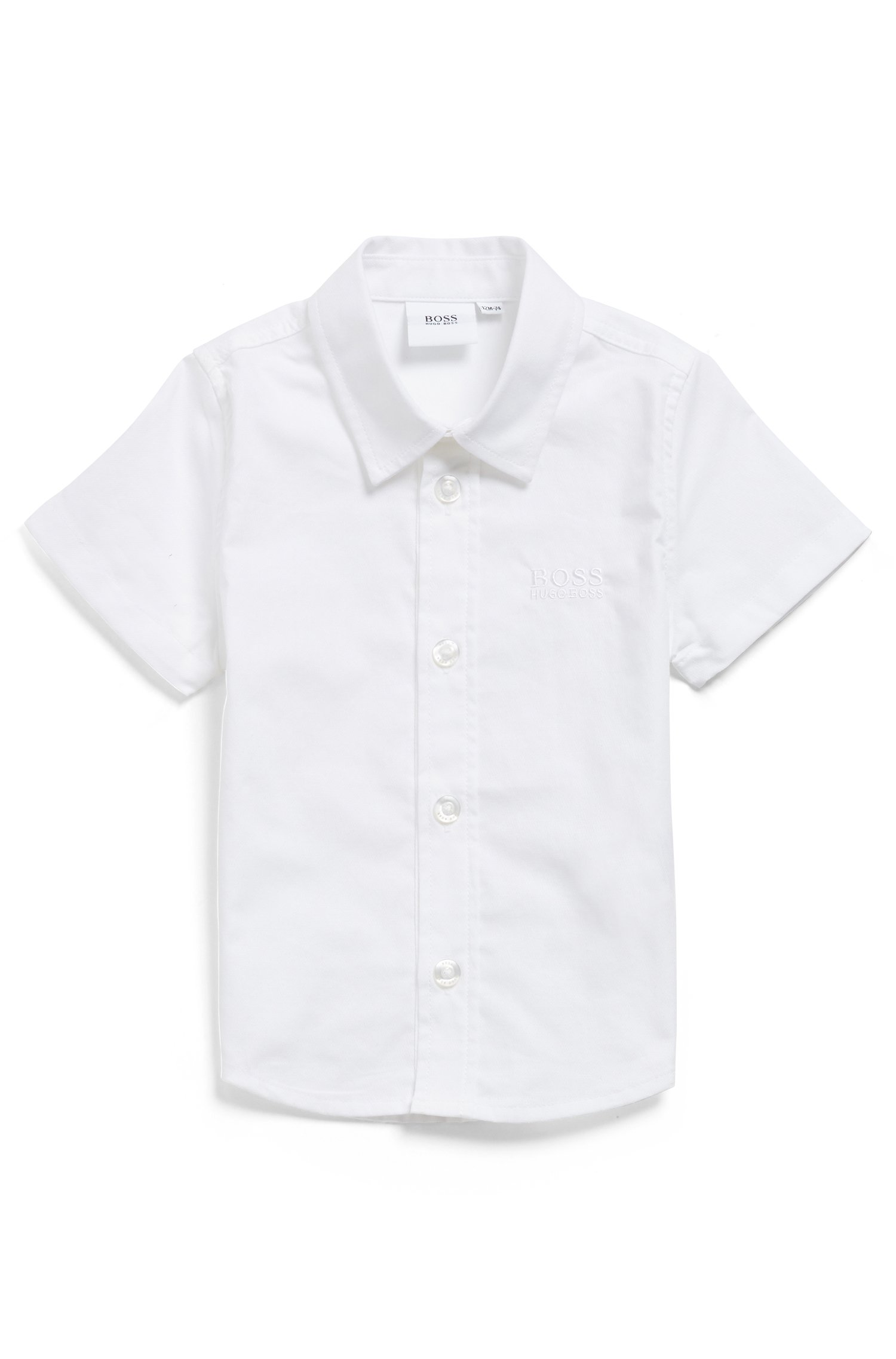 Kids' short-sleeved shirt in cotton with embroidered logo, White