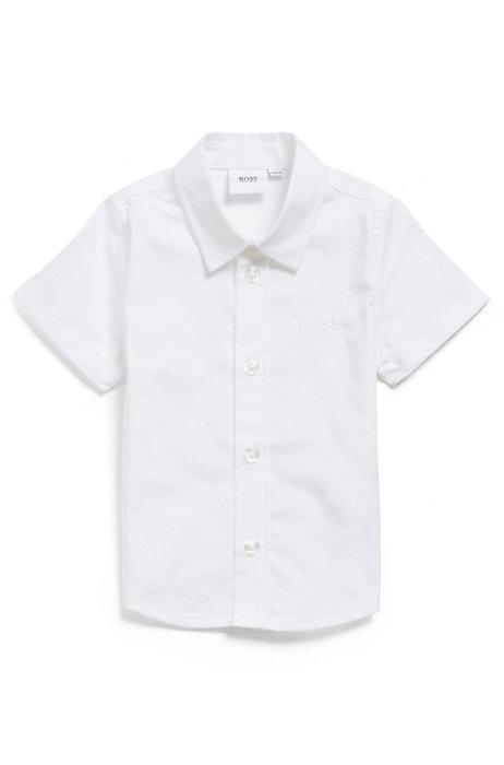 Chemise à manches courtes en coton pour enfant, avec logo brodé, Blanc