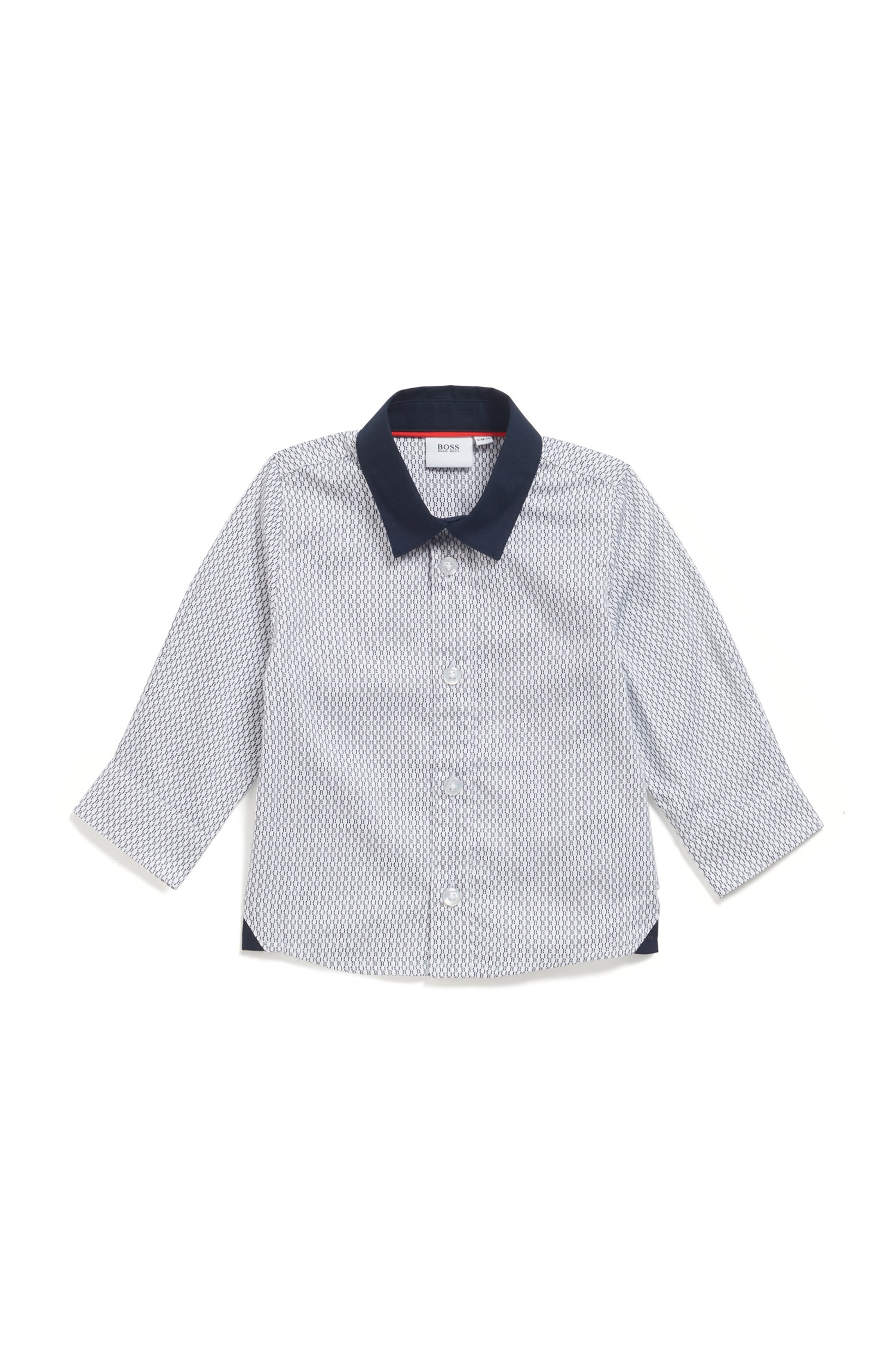Kids' slim-fit shirt in cotton satin with monograms, White