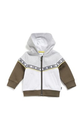 Kids' color-block hoodie with logo tape, Patterned