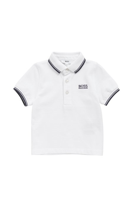 Kids' piqué cotton polo shirt with tipping, White