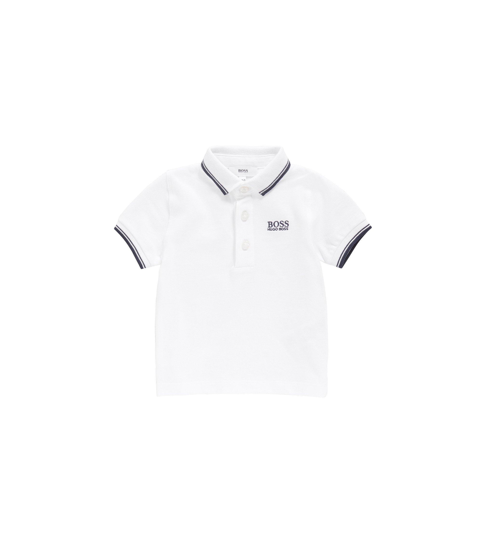 Polo pour enfant en piqué de coton aux finitions rayées, Blanc