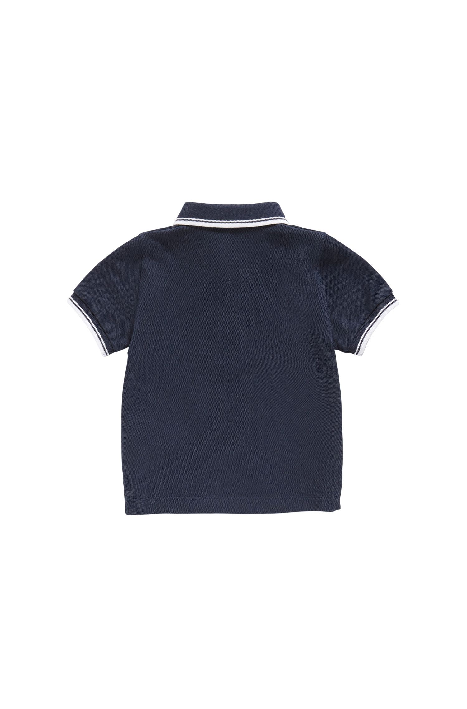 Kids' piqué cotton polo shirt with tipping