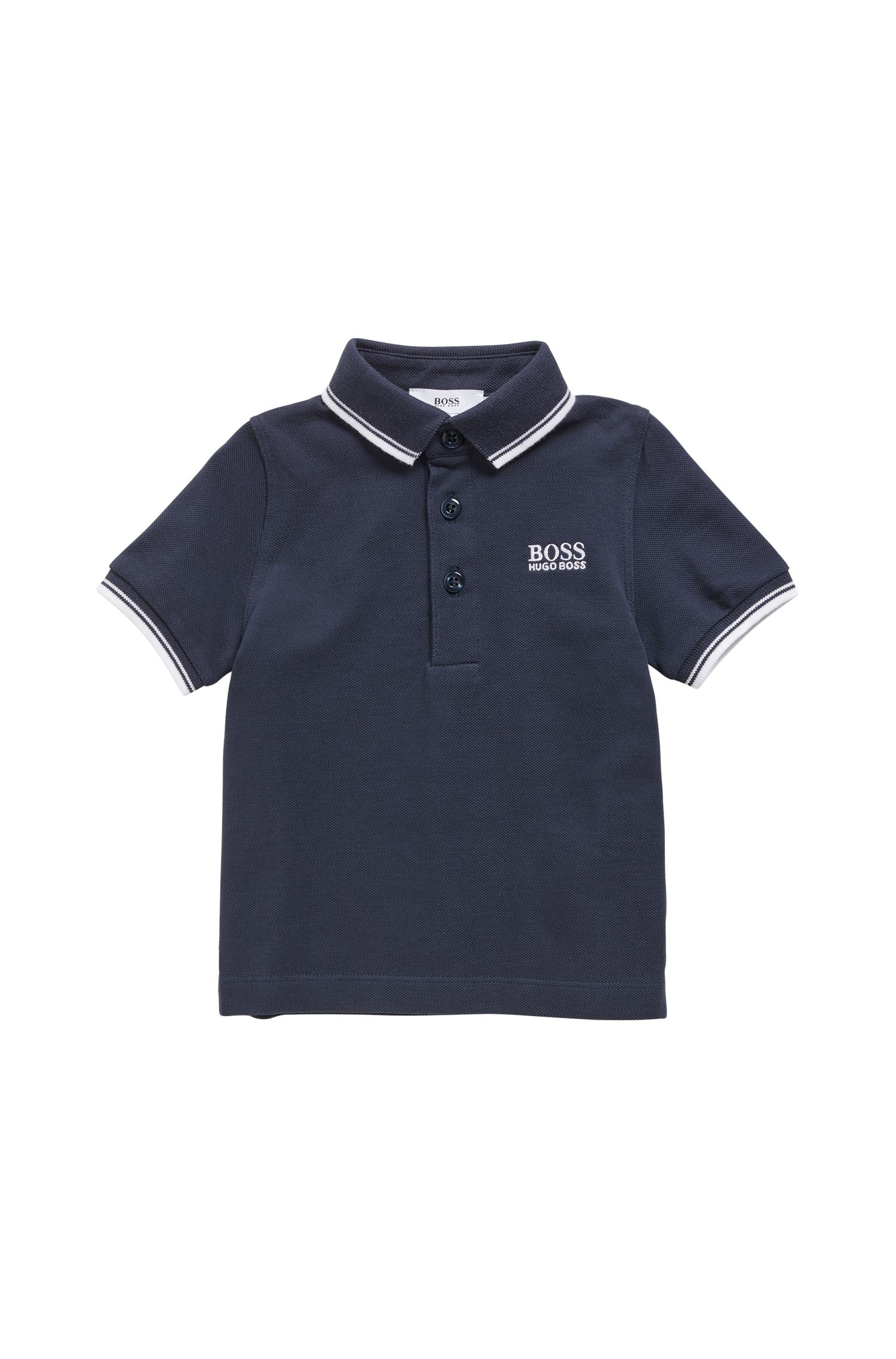 Kids' piqué cotton polo shirt with tipping, Dark Blue