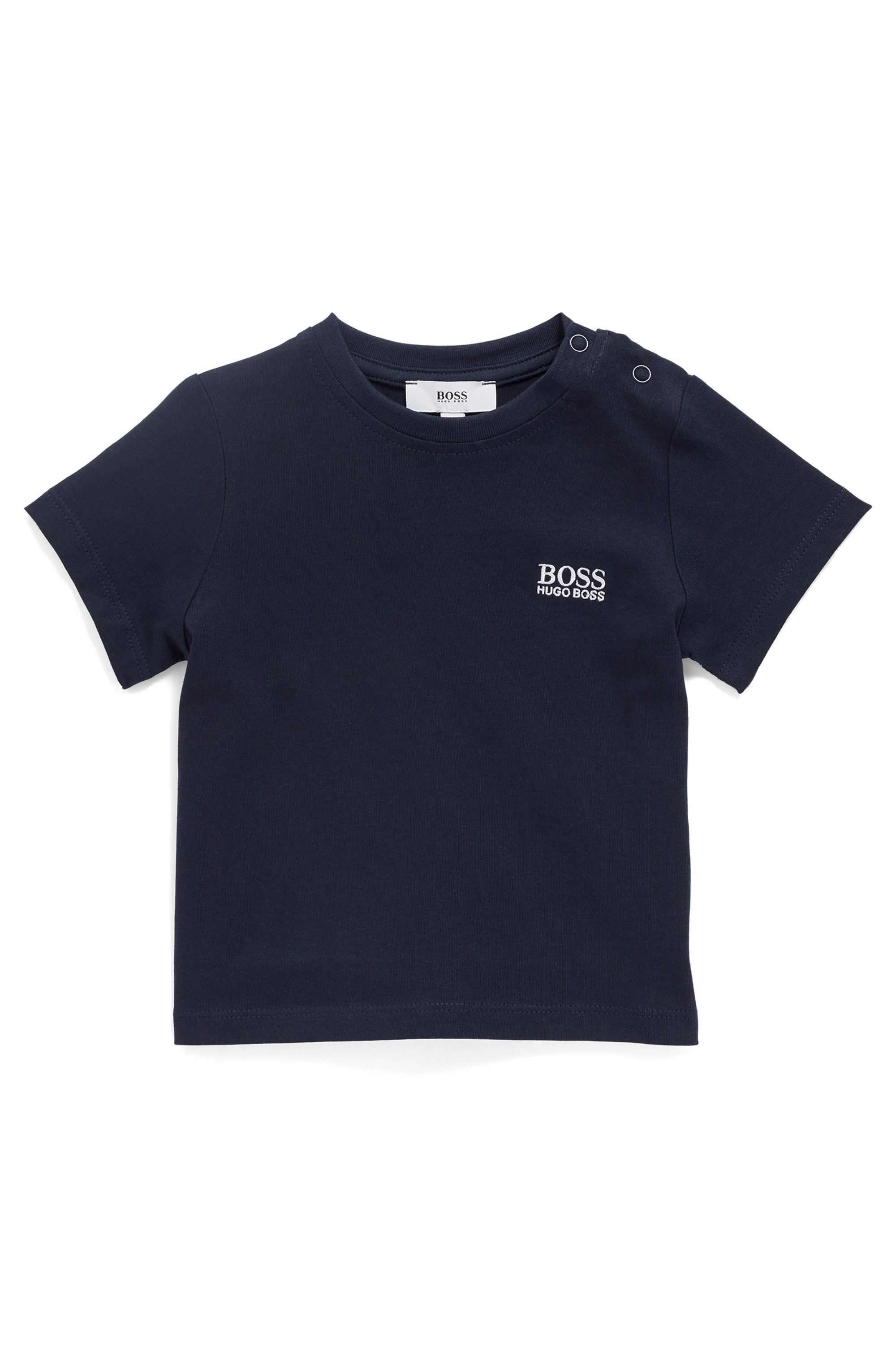 Kids' regular-fit T-shirt in cotton with embroidered logo, Dark Blue