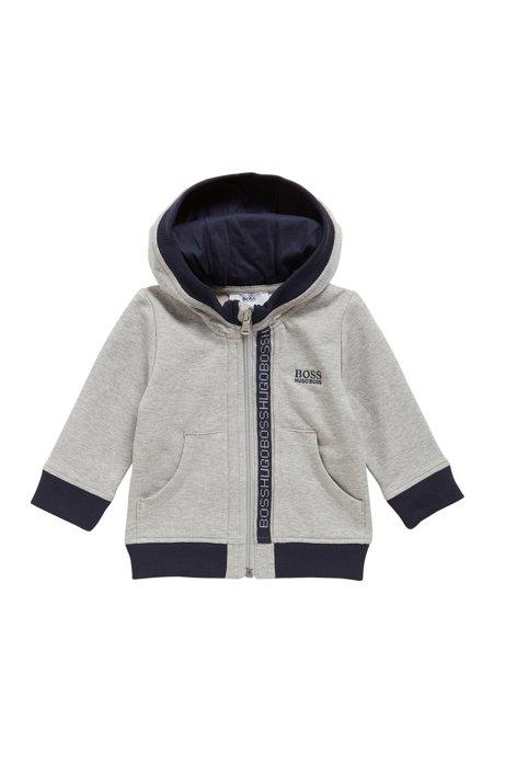 Kids' zip-through sweatshirt in cotton fleece, Light Grey