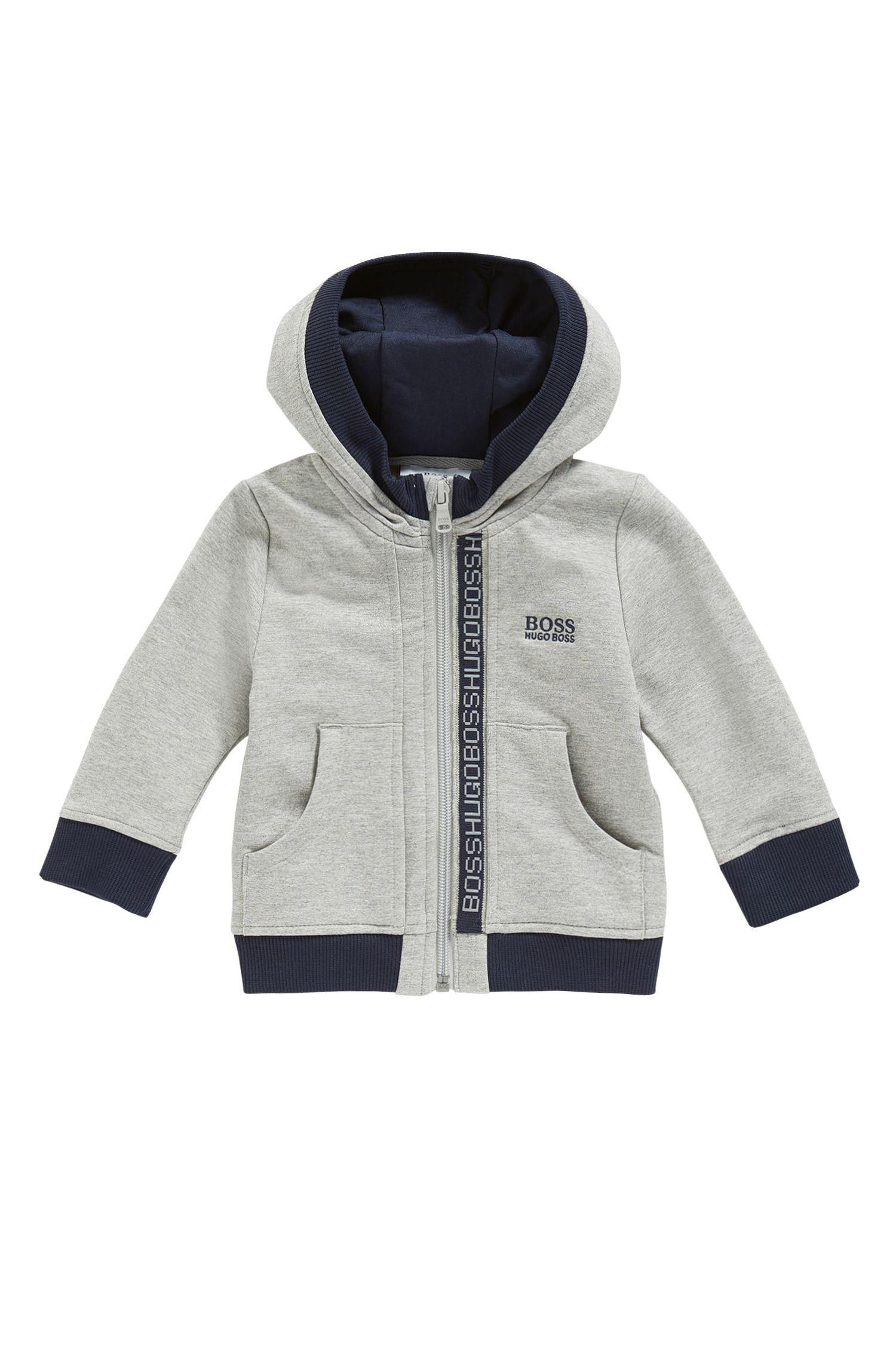 Giacca in felpa da neonato in cotone elasticizzato con cappuccio: 'J05P02'