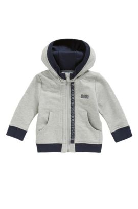 Kids' zip-through sweatshirt in cotton fleece, Light Grey