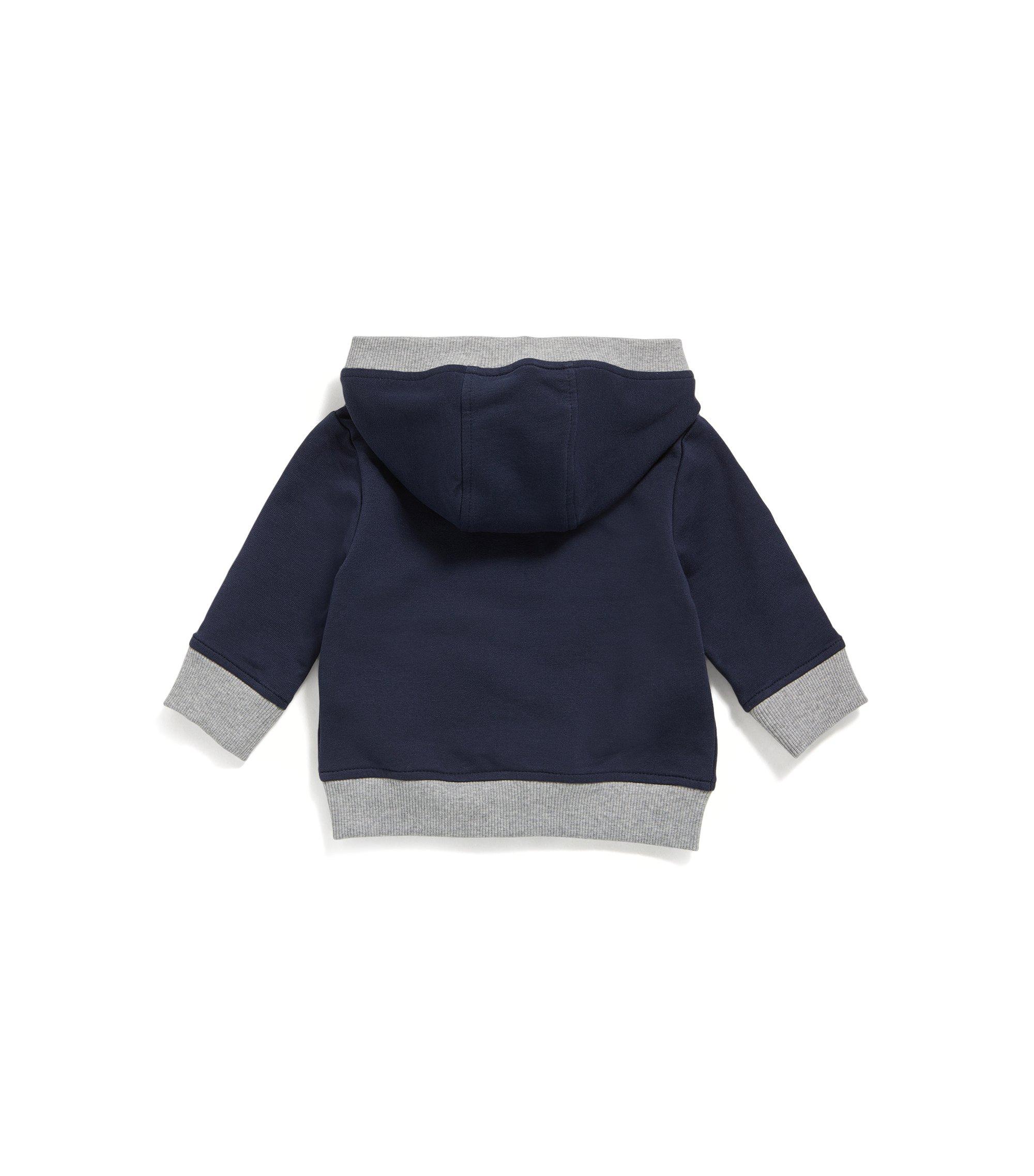 Kindersweatshirt van katoenen fleece met doorlopende ritssluiting, Donkerblauw