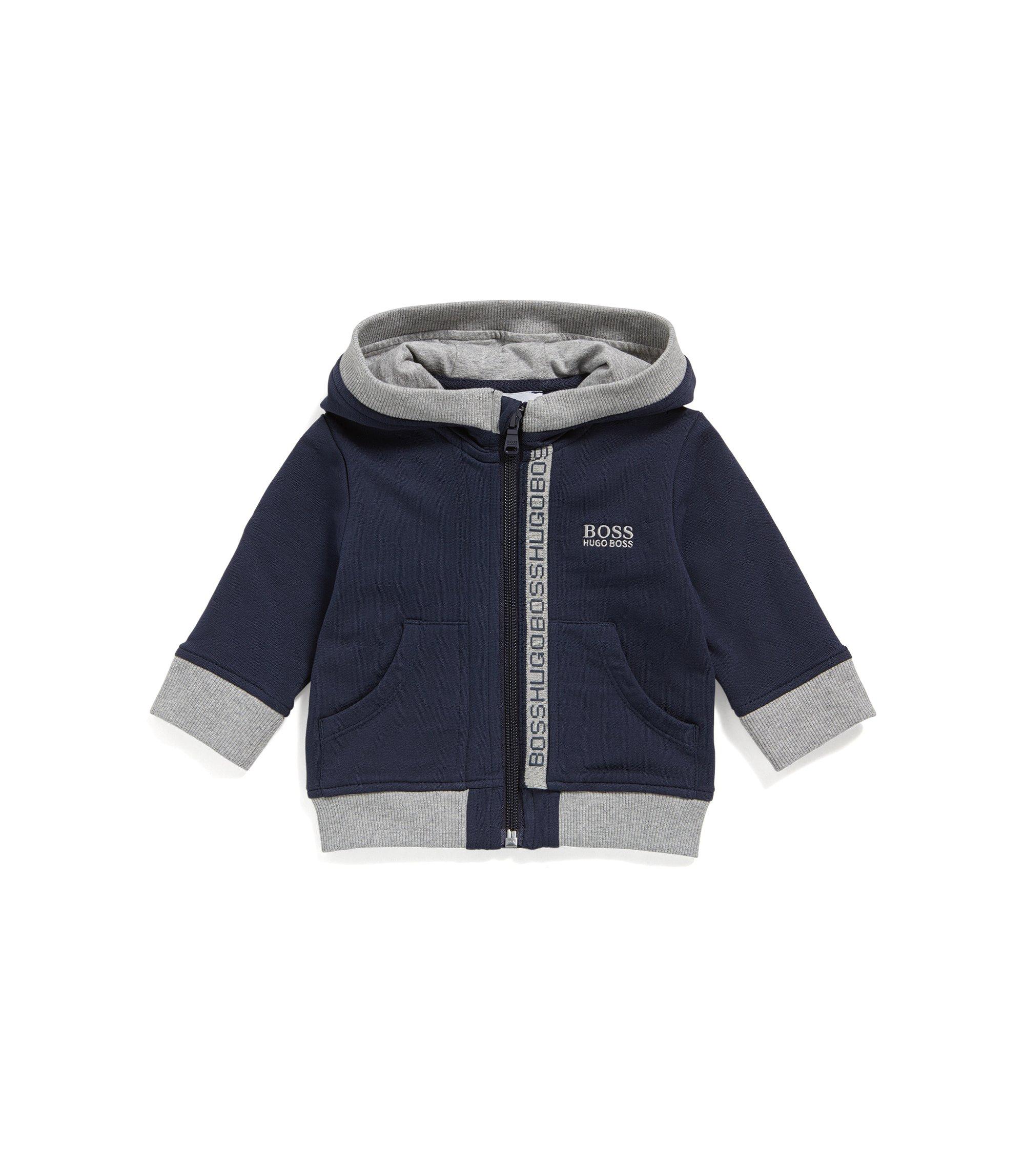Sweat zippé pour enfant en polaire de coton, Bleu foncé