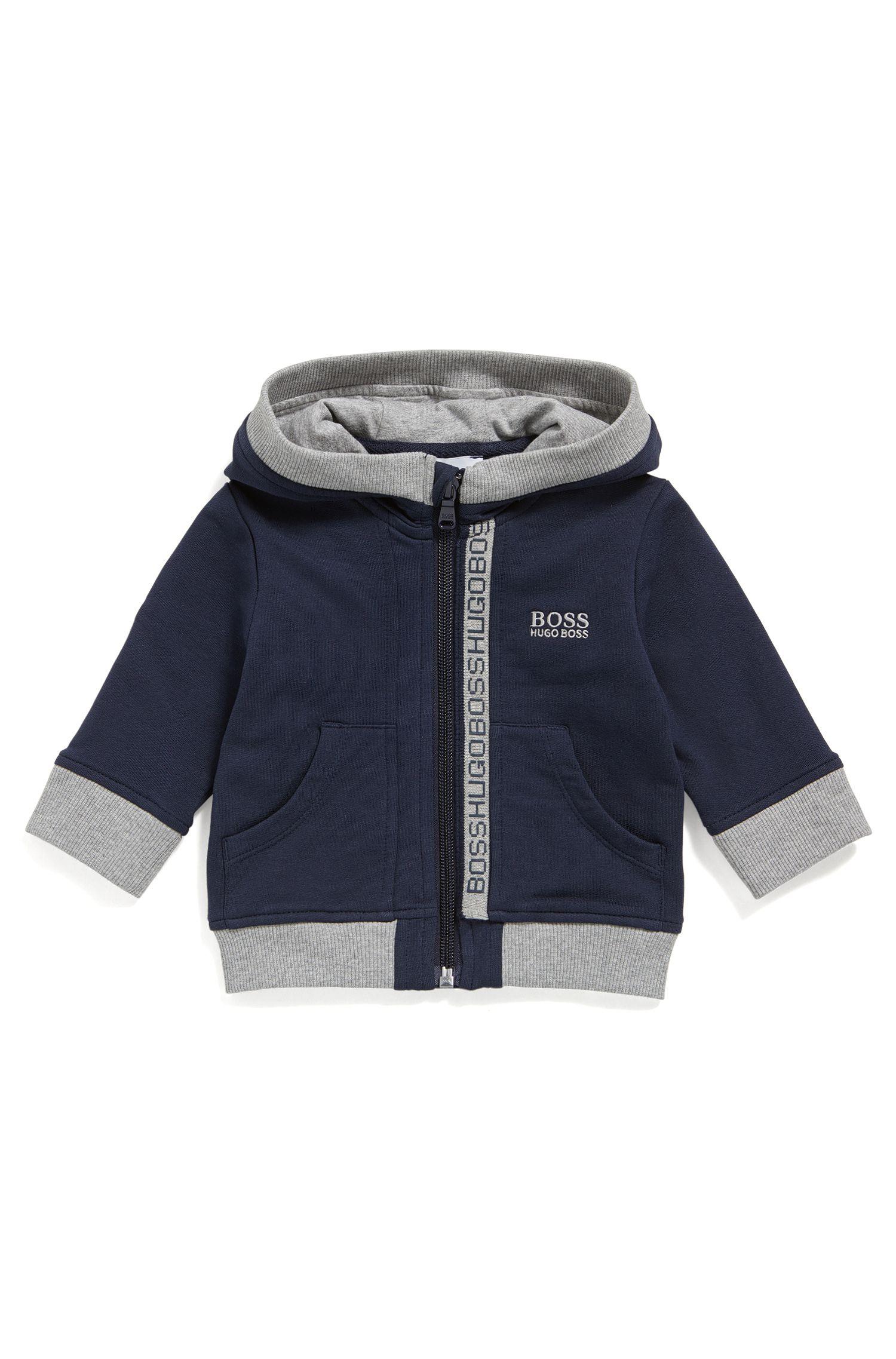 Newborns' hooded sweatshirt jacket in stretch cotton: 'J05P02'