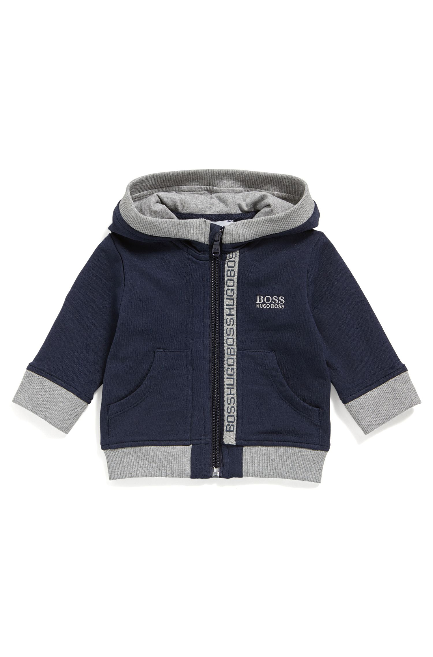 Kids' zip-through sweatshirt in cotton fleece