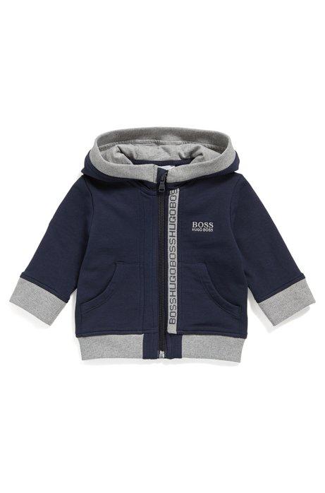 Kids' zip-through sweatshirt in cotton fleece, Dark Blue
