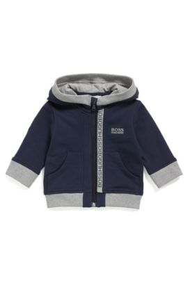 Kids' zip-through sweatshirt in cotton fleece, Dark Blue