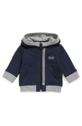 Newborns' hooded sweatshirt jacket in stretch cotton: 'J05P02', Dark Blue