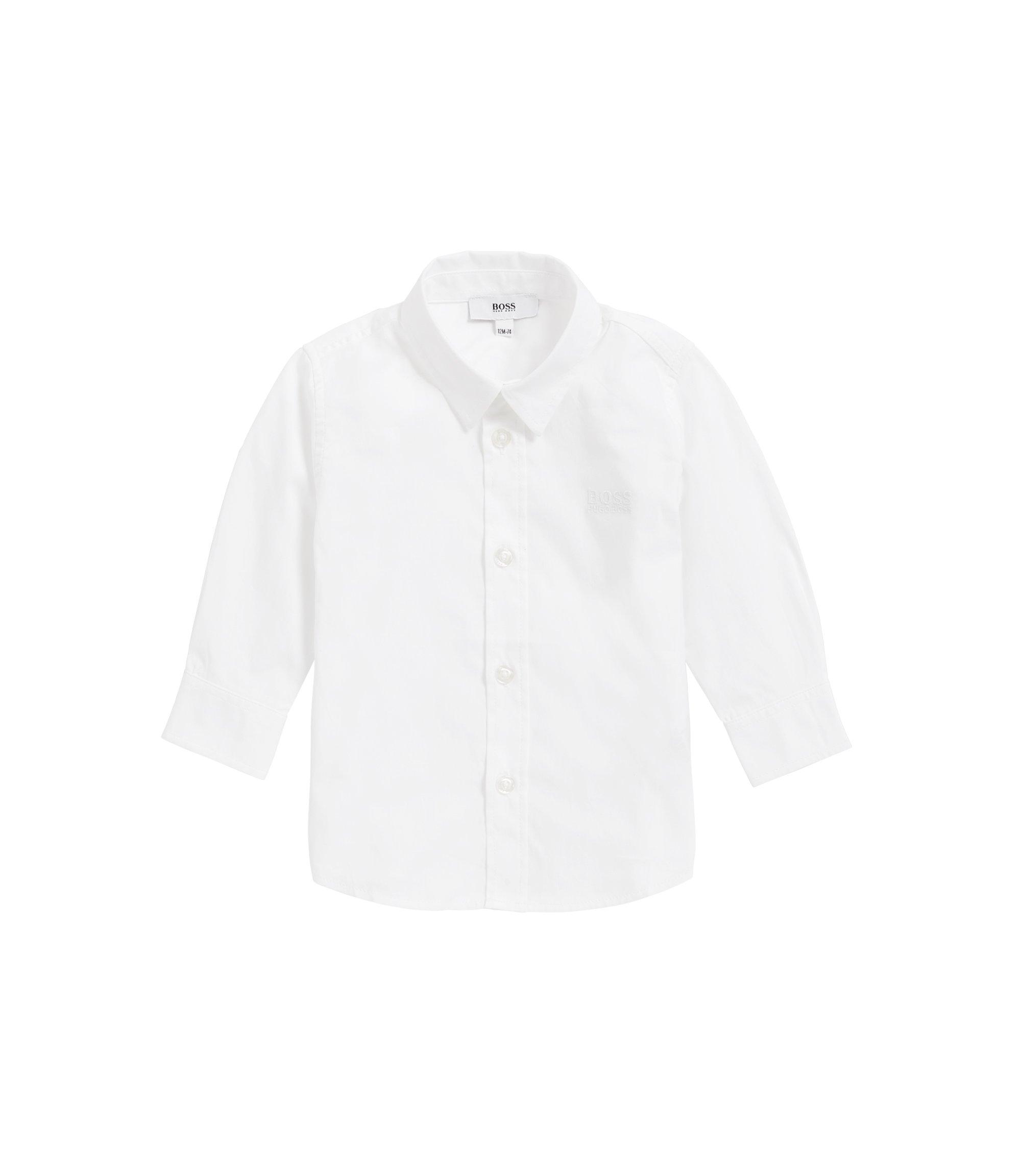 Kids-Regular-Fit-Hemd aus weicher Baumwolle, Weiß