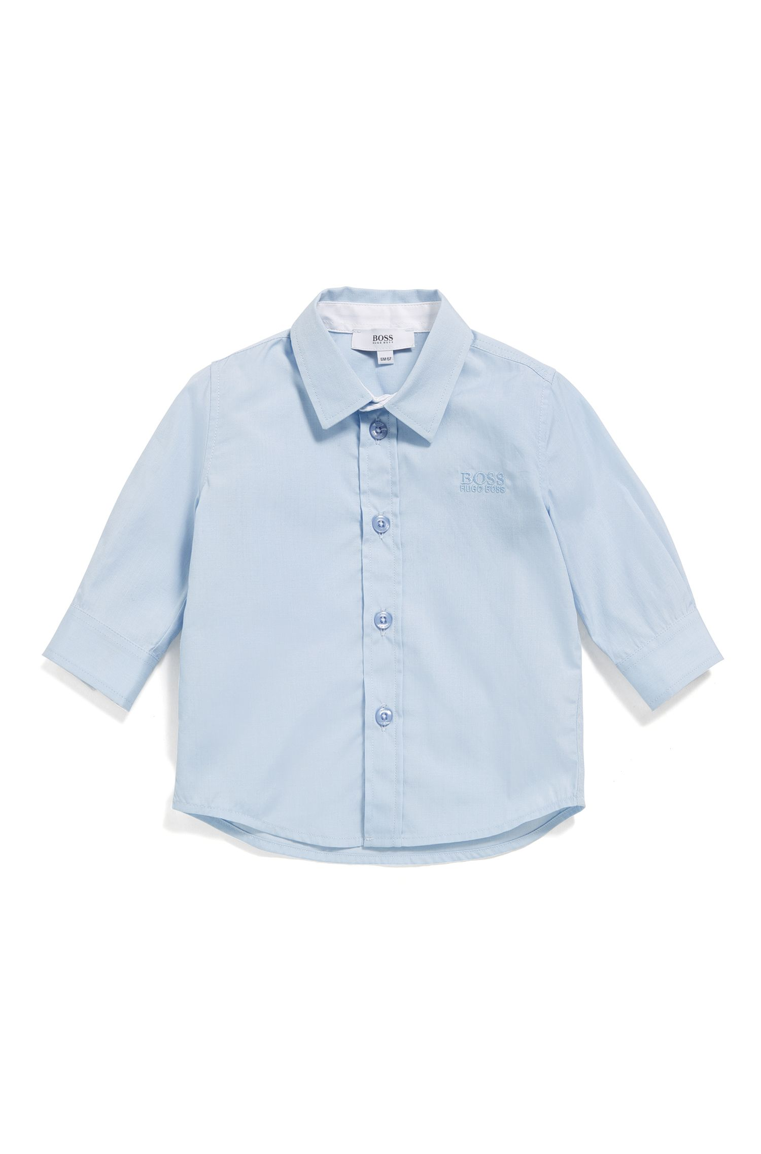 Baby shirt in cotton with a Kent collar: 'J05P03'