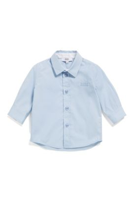 Baby shirt in cotton with a Kent collar: 'J05P03', Light Blue