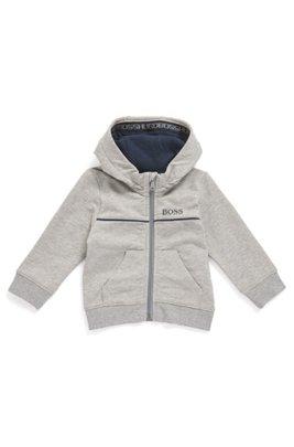 Une veste d'intérieur pour enfant à capuche, en molleton de coton stretch, Gris chiné