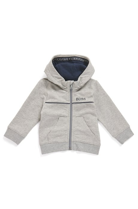 Kids' hooded loungewear jacket in stretch-cotton fleece, Light Grey