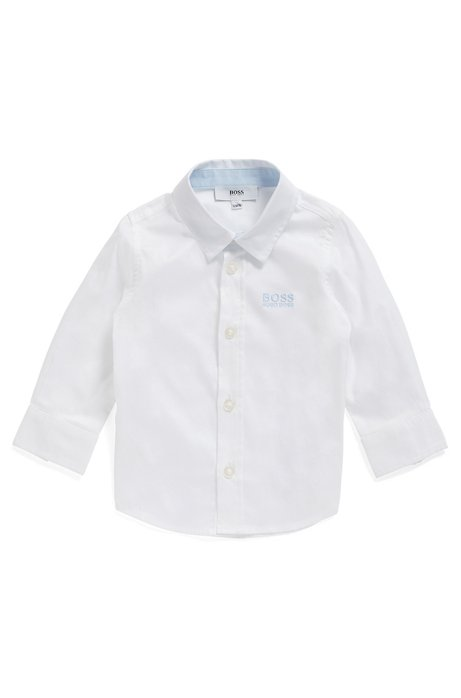 Kids' long-sleeved shirt with embroidered logo, White