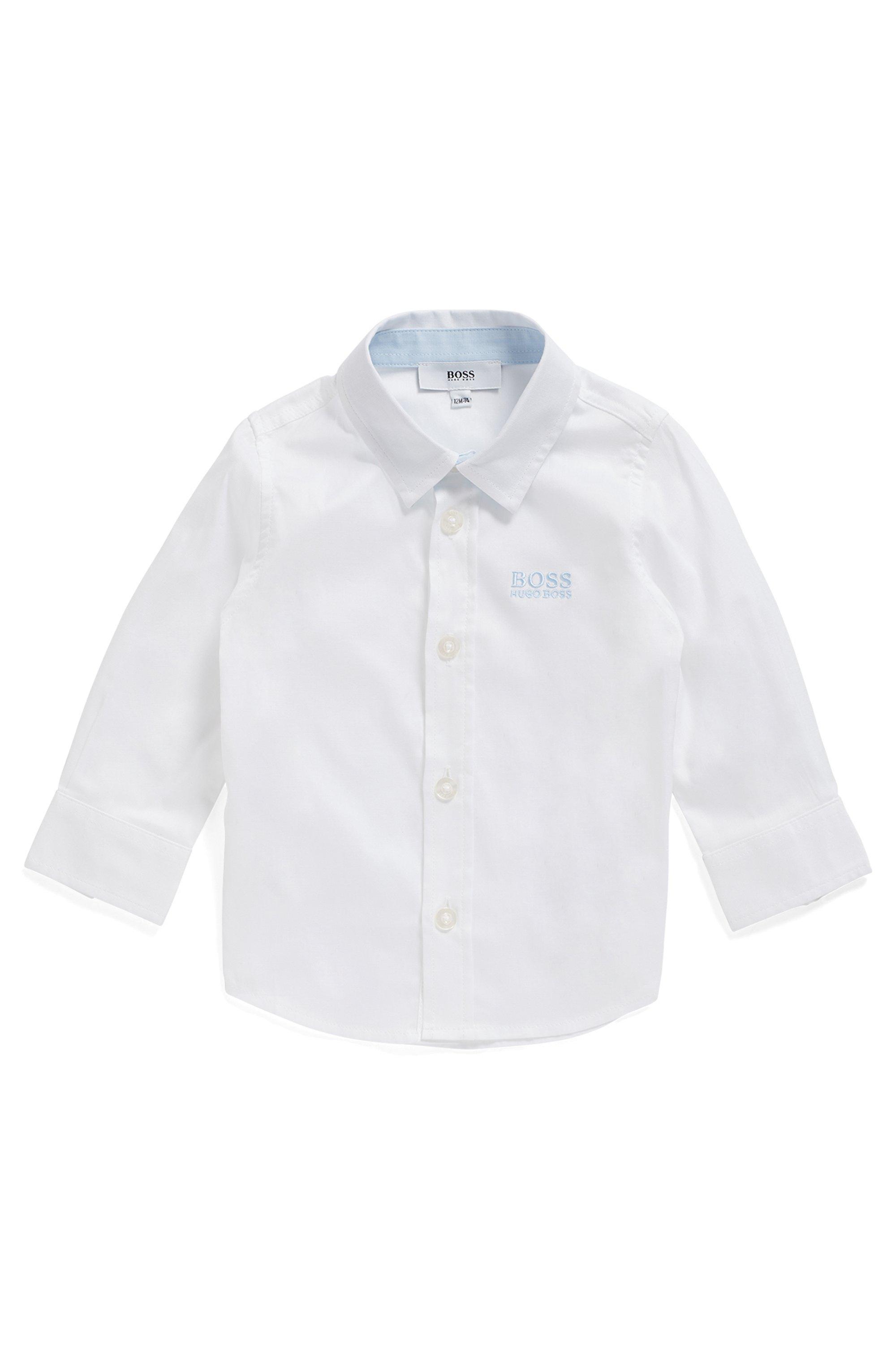 Regular-Fit Kids-Hemd aus Baumwolle mit Logo-Stickerei, Weiß