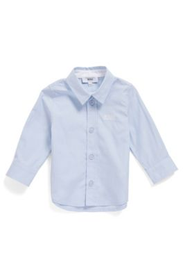 Chemise Regular Fit en coton pour enfant, à logo brodé, bleu clair